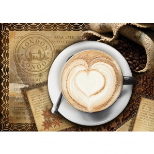 Fototapete Kaffee Tapete Cappuccino Kaffeebohnen Herz London braun   no. 2150