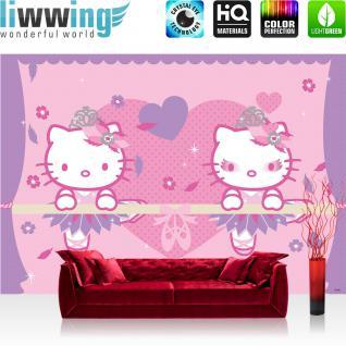 liwwing Vlies Fototapete 312x219cm PREMIUM PLUS Wand Foto Tapete Wand Bild Vliestapete - Mädchen Tapete Sanrio Hello Kitty Katze Cartoon Illustration Kindertapete rosa - no. 3153