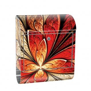 Edelstahl Wandbriefkasten XXL mit Motiv & Zeitungsrolle   Ornament abstrakt 3D Rot braun Hintergrund   no. 0115