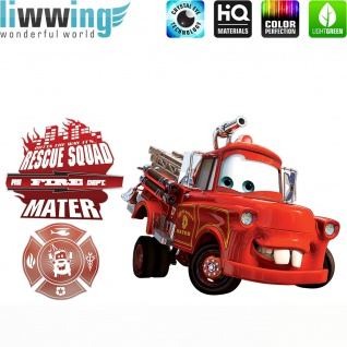 Wandsticker Disney Cars - No. 4635 Wandtattoo Sticker Kinderzimmer Auto Kindersticker Lightning McQueen Jungen