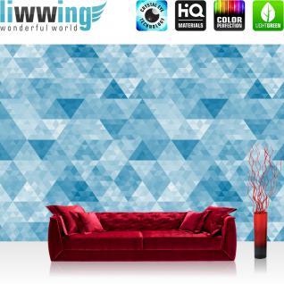 liwwing Fototapete 254x184cm PREMIUM Wand Foto Tapete Wand Bild Papiertapete - Texturen Tapete Polygone Dreiecke Rauten blau - no. 3491