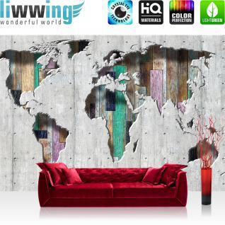 liwwing Fototapete 254x168 cm PREMIUM Wand Foto Tapete Wand Bild Papiertapete - Welt Tapete Kontinente Holz Holzoptik grau - no. 1655