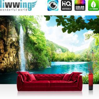 liwwing Vlies Fototapete 200x140 cm PREMIUM PLUS Wand Foto Tapete Wand Bild Vliestapete - WATERFALL IN PARADISE - Wasserfall Lagune, Paradies Berge See Wald Bäume Landschaft - no. 035