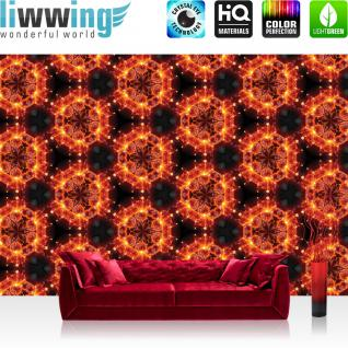 liwwing Vlies Fototapete 104x50.5cm PREMIUM PLUS Wand Foto Tapete Wand Bild Vliestapete - Illustrationen Tapete Feuer Illustration Blume rot - no. 3145