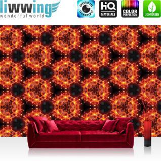 liwwing Vlies Fototapete 416x254cm PREMIUM PLUS Wand Foto Tapete Wand Bild Vliestapete - Illustrationen Tapete Feuer Illustration Blume rot - no. 3145