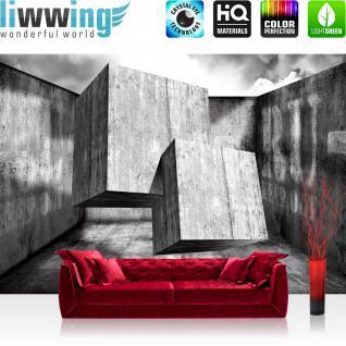 liwwing Vlies Fototapete 312x219cm PREMIUM PLUS Wand Foto Tapete Wand Bild Vliestapete - 3D Tapete Abstrakt Container Schrift Würfel Kunst grau - no. 1515