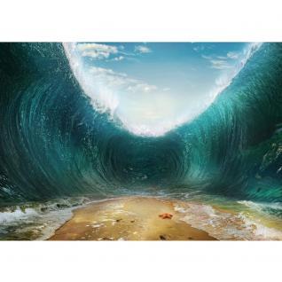 liwwing Vlies Fototapete 208x146cm PREMIUM PLUS Wand Foto Tapete Wand Bild Vliestapete - Wasser Tapete Wellen Tunnel. Seestern Himmel türkis - no. 1661 - Vorschau 2