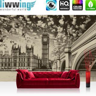 liwwing Fototapete 368x254 cm PREMIUM Wand Foto Tapete Wand Bild Papiertapete - London Tapete Big Ben Brücke Wasser Himmel Vintage grau - no. 3061