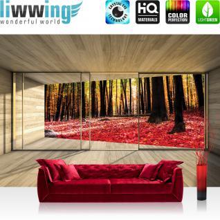 liwwing Vlies Fototapete 312x219cm PREMIUM PLUS Wand Foto Tapete Wand Bild Vliestapete - Holz Tapete Holzoptik Wald Bäume Blätter Fenster Rahmen beige - no. 2158