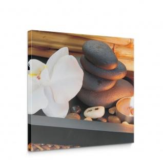 Leinwandbild Natur Blume Orchidee Steine Bambus | no. 5124