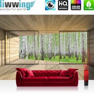 liwwing Vlies Fototapete 312x219cm PREMIUM PLUS Wand Foto Tapete Wand Bild Vliestapete - Holz Tapete Holzoptik Wald Bäume Birken Fenster Rahmen beige - no. 2159