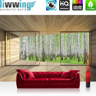 liwwing Vlies Fototapete 416x254cm PREMIUM PLUS Wand Foto Tapete Wand Bild Vliestapete - Holz Tapete Holzoptik Wald Bäume Birken Fenster Rahmen beige - no. 2159