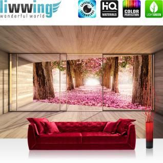 liwwing Fototapete 368x254 cm PREMIUM Wand Foto Tapete Wand Bild Papiertapete - Architektur Tapete Terrasse Balkon Fenster Holzwand Allee Bäume Laub Sommer braun - no. 1529