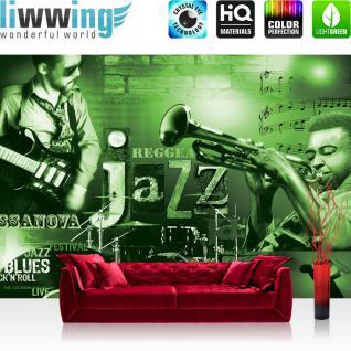 liwwing Vlies Fototapete 416x254cm PREMIUM PLUS Wand Foto Tapete Wand Bild Vliestapete - Schriftkunst Tapete Jazz Musik Schriftkunst Festival Trompete Gitarre grün - no. 2002