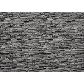 Fototapete Noble Stone Wall - anthrazit - kleinere Steine anreihbare Tapete Steinwand Steinoptik Wand grau | no. 143