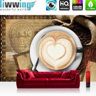 liwwing Vlies Fototapete 416x254cm PREMIUM PLUS Wand Foto Tapete Wand Bild Vliestapete - Kaffee Tapete Cappuccino Kaffeebohnen Herz London braun - no. 2150
