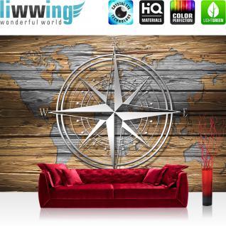 liwwing Vlies Fototapete 312x219cm PREMIUM PLUS Wand Foto Tapete Wand Bild Vliestapete - Holz Tapete Holzoptik Welt Kontinente Kompass braun - no. 2699