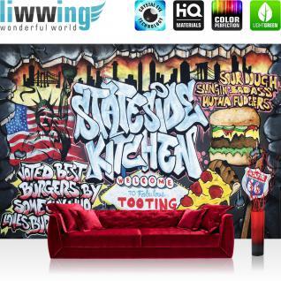 liwwing Vlies Fototapete 200x140 cm PREMIUM PLUS Wand Foto Tapete Wand Bild Vliestapete - Graffiti Tapete Kindertapete Graffiti Schriftzug USA bunt - no. 600