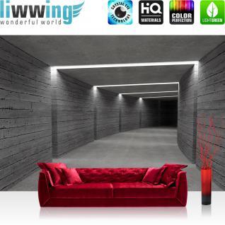liwwing Vlies Fototapete 312x219cm PREMIUM PLUS Wand Foto Tapete Wand Bild Vliestapete - Architektur Tapete Tunnel Wand Licht Architektur Holzwand Holz grau - no. 2042
