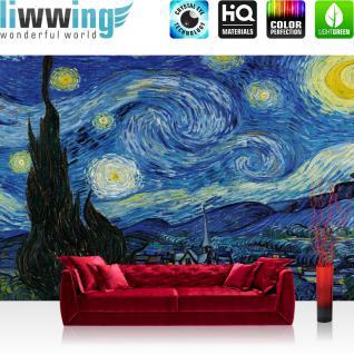 liwwing Vlies Fototapete 208x146cm PREMIUM PLUS Wand Foto Tapete Wand Bild Vliestapete - Gemälde Tapete Sternennacht Vincent van Gogh Ölfarbe Landschaft Malerei Kunst blau - no. 2660