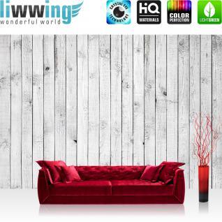 liwwing Vlies Fototapete 300x210 cm PREMIUM PLUS Wand Foto Tapete Wand Bild Vliestapete - WHITE PAINTED WOODEN WALL - Holzoptik Holzwand, HolzPanel, weißes Holz - no. 085