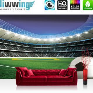liwwing Fototapete 368x254 cm PREMIUM Wand Foto Tapete Wand Bild Papiertapete - Fussball Tapete Stadion Tribüne Fussballfeld Lichter Flagge Brasilien grün - no. 2084