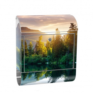 Edelstahl Wandbriefkasten XXL mit Motiv & Zeitungsrolle | Berge See Sonnenuntergang Romantisch Bäume Wald | no. 0051