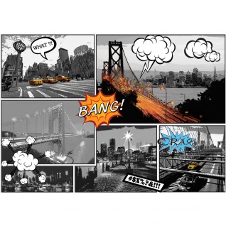 Fototapete New York Tapete Manhattan, Hudson River, Skyline, Cabs, Nacht, Comic Art bunt | no. 3448