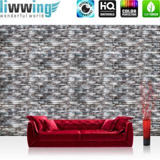 liwwing Vlies Fototapete 254x184cm PREMIUM PLUS Wand Foto Tapete Wand Bild Vliestapete - Steinwand Tapete Naturstein Marmor Klinker grau - no. 3260
