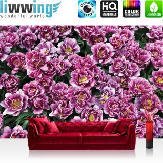 liwwing Vlies Fototapete 208x146cm PREMIUM PLUS Wand Foto Tapete Wand Bild Vliestapete - Blumen Tapete Blüten Pflanzen Blätter Sommer lila - no. 2418