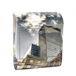 Edelstahl Wandbriefkasten XXL mit Motiv & Zeitungsrolle | NYC Hochhäuser Streetview New York Skyline | no. 0054