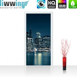 liwwing Vlies Türtapete 100x211 cm PREMIUM PLUS Tür Fototapete Türposter Türpanel Foto Tapete Bild - NEW YORK BLUE NIGHT SKYLINE - New York City USA Amerika Empire State Building Big Apple - no. 022