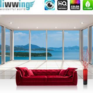 liwwing Vlies Fototapete 312x219cm PREMIUM PLUS Wand Foto Tapete Wand Bild Vliestapete - Wellness Tapete Meer Insel Fenster Fliesen weiß - no. 2293