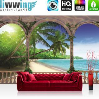 liwwing Fototapete 368x254 cm PREMIUM Wand Foto Tapete Wand Bild Papiertapete - Meer Tapete Bogen Strand Wasser Palmen Tropisch blau - no. 1194