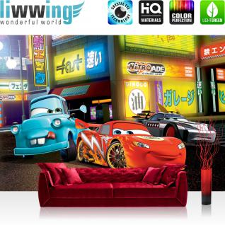 liwwing Vlies Fototapete 416x254cm PREMIUM PLUS Wand Foto Tapete Wand Bild Vliestapete - Disney Tapete Cars Kindertapete Cartoon Lightning McQueen Mater Autos Rennautos bunt - no. 2858