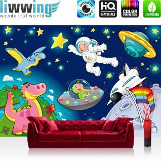 liwwing Vlies Fototapete 400x280 cm PREMIUM PLUS Wand Foto Tapete Wand Bild Vliestapete - LITTLE SPACE EXPLORER - Kinderzimmer Kindertapete Weltraum Star All Weltall Kosmonaut Mond Sterne - no. 089