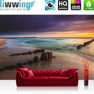 liwwing Fototapete 254x168 cm PREMIUM Wand Foto Tapete Wand Bild Papiertapete - Meer Tapete Strand Meer Sonnenuntergang Himmel Sommer Urlaub Wasser blau - no. 1190