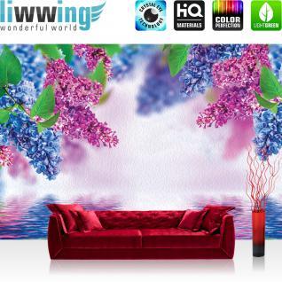 liwwing Fototapete 254x168 cm PREMIUM Wand Foto Tapete Wand Bild Papiertapete - Blumen Tapete Blume Wasser Wellness Natur bunt - no. 1210