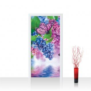 Türtapete - Flieder Schmetterling Blume Wasser | no. 418