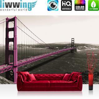 liwwing Vlies Fototapete 416x254cm PREMIUM PLUS Wand Foto Tapete Wand Bild Vliestapete - Architektur Tapete Golden Gate Bridge Amerika USA San Francisco Brücke Wasser lila - no. 2651