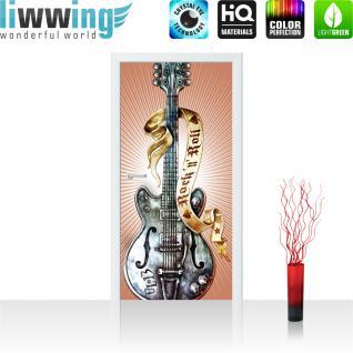 liwwing Vlies Türtapete 91x211 cm PREMIUM PLUS Tür Fototapete Türposter Türpanel Foto Tapete Bild - Gitarre Rock `n` Roll - no. 292