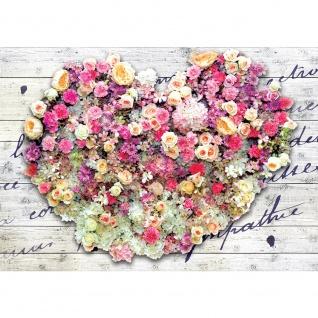 Fototapete Holz Tapete Blumen Blüten Rosen Herz Liebe Holz Holzoptik bunt | no. 2670
