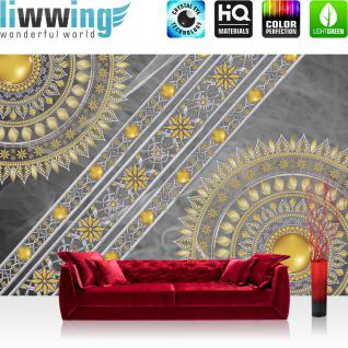liwwing Vlies Fototapete 208x146cm PREMIUM PLUS Wand Foto Tapete Wand Bild Vliestapete - Ornamente Tapete Mandala Sterne Perlen grau - no. 3236