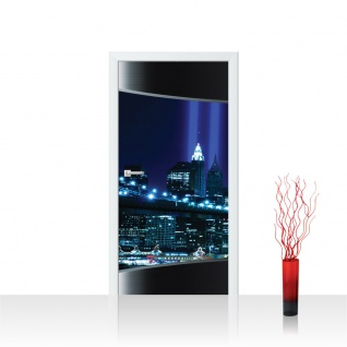 Türtapete - Stadt Panorama Tower Lightning Rahmen | no. 633