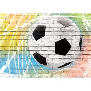 liwwing Vlies Fototapete 104x50.5cm PREMIUM PLUS Wand Foto Tapete Wand Bild Vliestapete - Fußball Tapete Fussball Steinmauer Steine bunt - no. 1356 - Vorschau 2