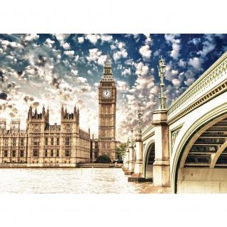 Fototapete London Tapete Big Ben Elisabeth Tower Palace of Westminster Fluss Brücke beige   no. 1944