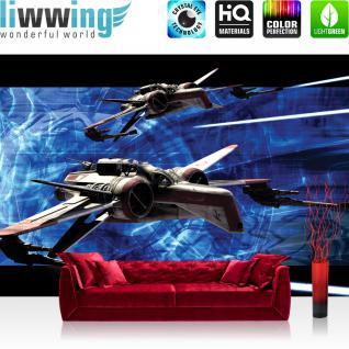 liwwing Vlies Fototapete 208x146cm PREMIUM PLUS Wand Foto Tapete Wand Bild Vliestapete - Jungen Tapete Star Wars Kindertapete Cartoons Illustration blau - no. 1219
