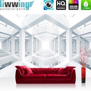 liwwing Vlies Fototapete 312x219cm PREMIUM PLUS Wand Foto Tapete Wand Bild Vliestapete - Architektur Tapete Gerüst Tunnel Licht Schatten 3D Optik weiß - no. 2916