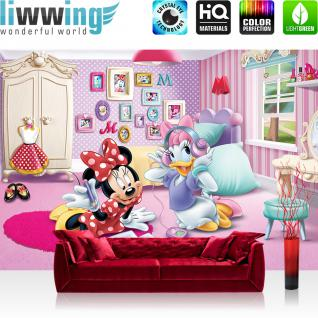liwwing Fototapete 254x168 cm PREMIUM Wand Foto Tapete Wand Bild Papiertapete - Disney Tapete Minnie Mouse Girls Kids Kindertapete Cartoons Comic pink - no. 1212