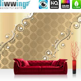 liwwing Vlies Fototapete 208x146cm PREMIUM PLUS Wand Foto Tapete Wand Bild Vliestapete - Ornamente Tapete Illustration Muster Metalleffekt Ranke verspielt gold - no. 2644